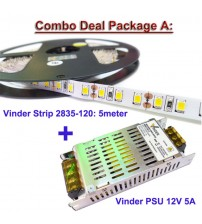 Paket 1 Roll Vinder Strip 2835-120 dan 1 Unit Power Supply 5A